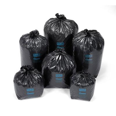 Sacs poubelle Raja recyclés à usage intensif - 50 litres - 45 microns - diamètre 43.3 x H.80 cm - noir - carton de 200