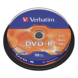 Verbatim - 10 x DVD-R - 4.7 Go 16x - argent mat - spindle (photo)