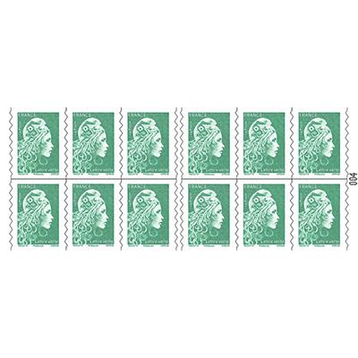 Carnet de 12 timbres autocollants lettre verte - soumis à conditions (photo)