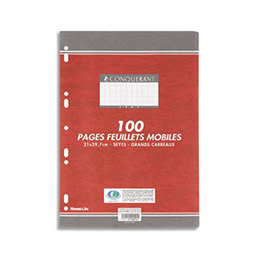Feuilles mobiles Conquerant perforés - 21 x 29,7 cm - 100 pages - 90g - grands carreaux (photo)