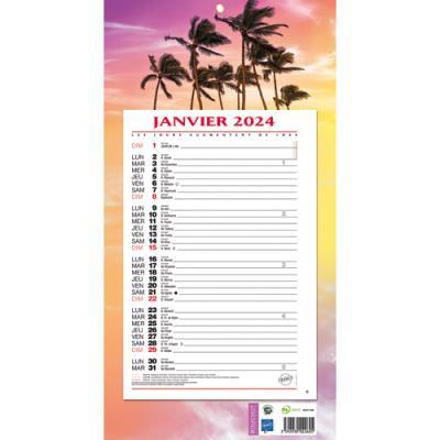 Calendrier 2022 mensuel sur plaque - 19 x 36 cm - thème exotique