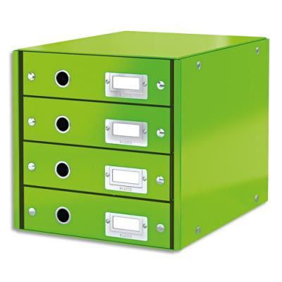 Module de classement Leitz WOW en carton recouvert de polypropylène - 4 tiroirs - vert