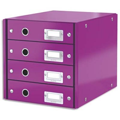Module de classement Leitz WOW en carton recouvert de polypropylène - 4 tiroirs - violet