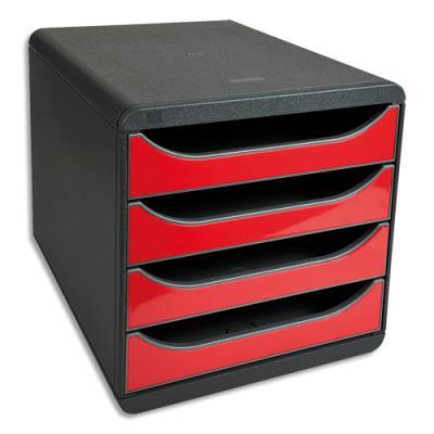 Module de classement Exacompta Big Box - 4 tiroirs - grisous / rouge carmin