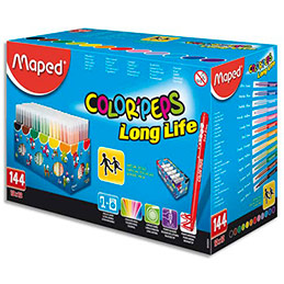 Schoolpack Maped de 144 feutres Colorpeps pointe moyenne assortis (photo)