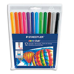 Pochette Staedtler de 12 feutres coloriage Noris Club pointe moyenne 1 mm assortis (photo)