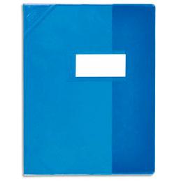Protège-cahier Elba Strong Line - 17 x 22 cm - cristal 15/100° + renforcés (30/100°) - bleu (photo)