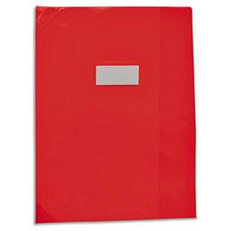 Protège-cahier Elba Strong Line - 17 x 22 cm - cristal 15/100° + renforcés (30/100°) - rouge (photo)