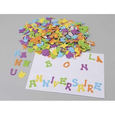 Sachet de 405 lettres en caoutchouc adhésif, hauteur 3cm, 5 couleurs assorties