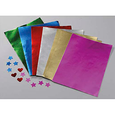 Ramette de 100 feuilles métallisées 1 face, format A4, couleurs or, rouge, rose, argent, vert, bleu