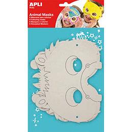 Sachet de 6 masques à colorier en carton 350g avec élastiques (à monter) (photo)