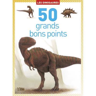Boîte de 50 grands bons points dinosaures, format 9,8 x 13,5 cm (photo)