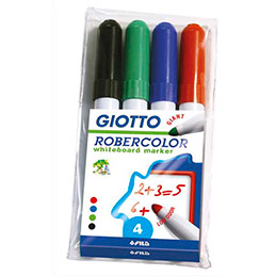 Pochette 4 marqueurs effaçables Giotto pointe ogive 7mm, bleu, rouge, noir, vert. Odeur neutre.
