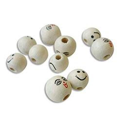 Sachet de 20 perles en bois visage assorties diamètre 12mm (photo)