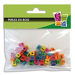 Sachet de 45 perles  cubes alphabet (photo)