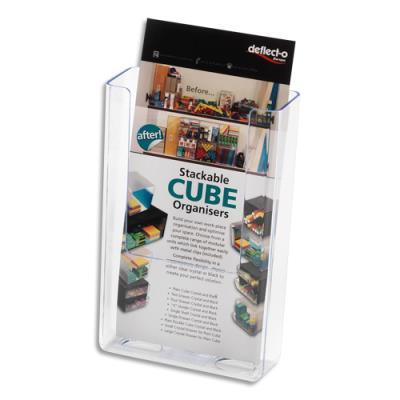 Porte-brochures Deflecto - dos plat vertical - 1/3 A4 L11,2 x H16,5 x P4,3 cm - transparent