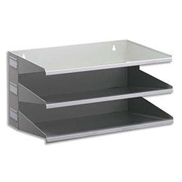 Trieur Durable - acier epoxy - horizontal 3 compartiments - pour documents A4+ : L36 x H20,5 x P25 cm - gris