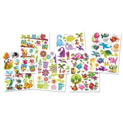Lot de 6 planches de stickers gel 3D multithématiques. Dimensions planche : 11,5x15,5 cm. (photo)