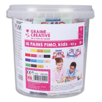 Seau de 16 pains de FIMO Kids, durcit au four. Norme CE. Couleurs assorties. (photo)