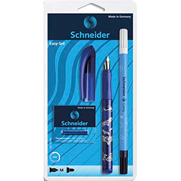 Set stylo plume Easy bleu et 5 cartouches standards, encre bleu (photo)