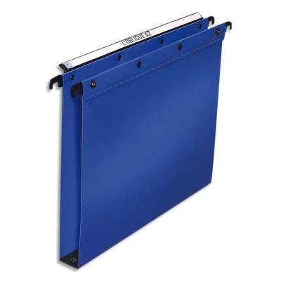 Dossiers suspendus - polypropylène 5/10e - fond 30mm - bleu - pour tiroir - bouton pressions - boite de 10 (photo)