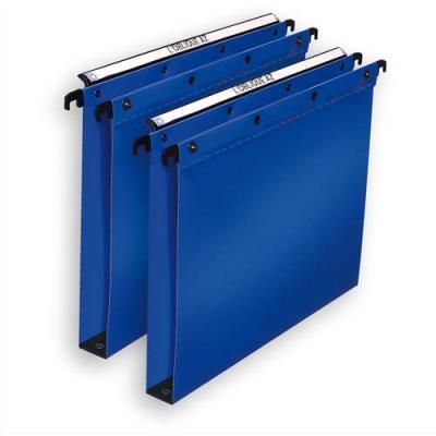 Dossiers suspendus - polypropylène 5/10e - fond 15mm - bleu - pour tiroir - bouton pressions - boite de 10 (photo)