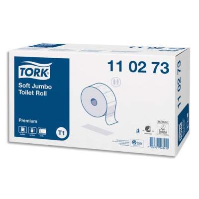 Colis de 6 bobines de papier toilette maxi Jumbo Tork Premium - doux 2 plis - l 360 m - blanc logo bleu (photo)