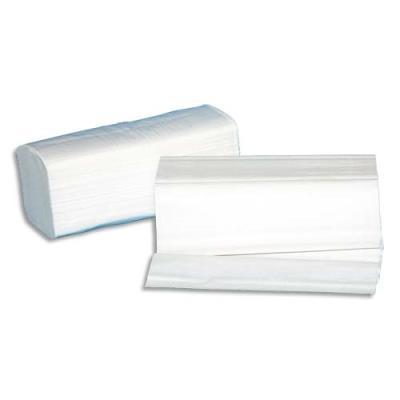 Essuie mains neutres pliés en W - format 22 x 35 cm - blanc - colis de 30 paquets de 100 feuilles (photo)