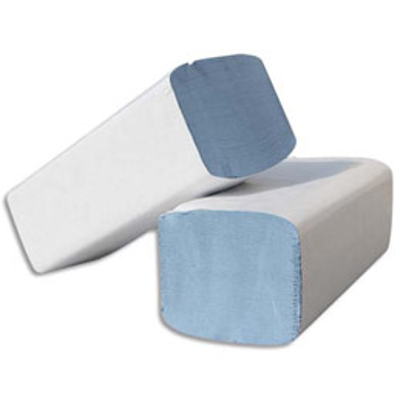 Essuie-mains neutre 100% recyclé pliage enchevetré en W - format 22 x 35 cm - bleu - colis de 30 paquets de 100 feuilles
