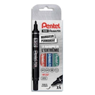 Marqueurs permanents Pentel N50 - pointe ogive - coloris assortis noir, bleu, rouge, vert - pochette de 4