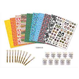 Kit d'initiation 10 feuilles, 10 vernis 45g, 10 pinceaux et 10 modes d'emploi (photo)