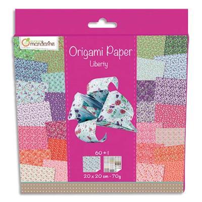 Pochette de 60 feuilles origami 20x20cm, 70g, recto verso + 1 planche stickers yeux