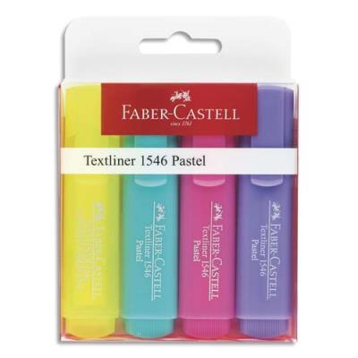 Surligneurs Textliner Faber Castell 1546 - pointe feutre biseautée - coloris pastel assortis - pochette de 4