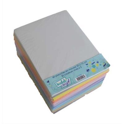 Lot de 60 planches de mousse format 20 x 15 cm couleurs assorties, 3 pièces par couleur (photo)