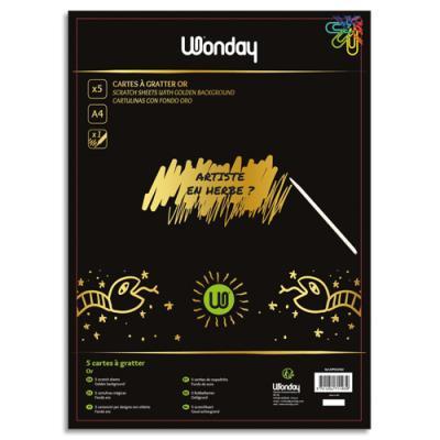 Sachet de 5 cartes à gratter A4 or + 1 stylet en bambou