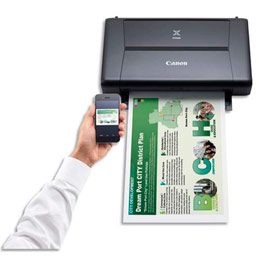 Canon PIXMA iP110w - Imprimante - couleur - jet d'encre - A4/Legal - jusqu'à 9 ipm (mono) / jusqu'à 5.8 ipm (couleur) - capacité : 50 feuilles - USB 2.0, Wi-Fi(n) - avec batterie LK-62 (photo)