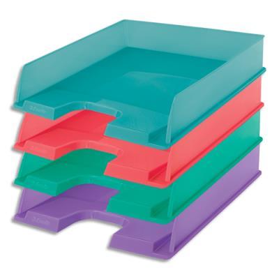 Corbeille à courrier Esselte Colour'Ice - L25,4 x H6,1 x P35cm - coloris assortis