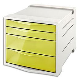 Bloc de classement Esselte Colour'Ice - 14 L - L24,5 x H36,5 x P28,5 cm - 4 tiroirs - jaune (photo)