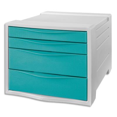 Bloc de classement Esselte Colour'Ice - 14 L - L24,5 x H36,5 x P28,5 cm - 4 tiroirs - bleu (photo)