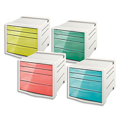 Bloc de classement Esselte Colour'Ice - 14 L - L24,5 x H36,5 x P28,5 cm - 4 tiroirs - coloris assortis (photo)