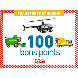 Boite de 100 bons points transports et engins, format 7,8 x 5,7 cm (photo)