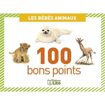 Boite de 100 bons points bébés animaux, format  7,8 x 5,7 cm (photo)