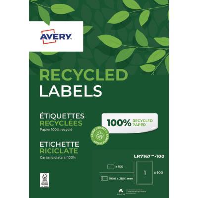 Boîte de 100 étiquettes adresse laser recyclées Avery LR7167 - impression laser - blanches - 199,6 x 289,1 mm (photo)