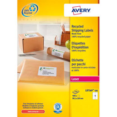Boîte de 400 étiquettes adresse laser recyclées Avery LR7169 - impression laser - blanches - 99,1 x 139 mm (photo)
