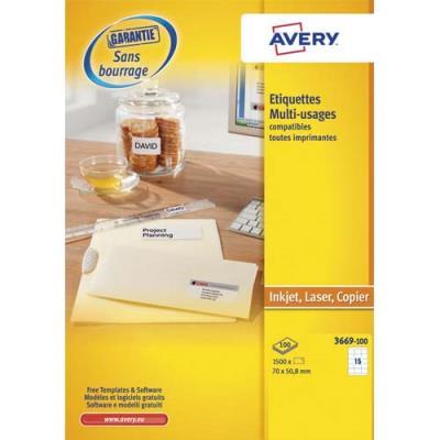 Boîte de 1500 étiquettes blanches multi usages Avery 3669 - 70 x 50,8 mm - pour laser jet d'encre et copieur (photo)
