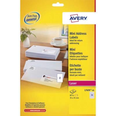 Boîte de 500 mini étiquettes blanches avery l7659 impression laser 35 x 35 mm