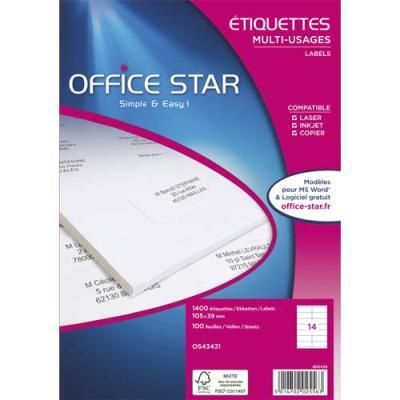 Boîte de 1200 étiquettes adhésives Office Star - 63,5 x 38,1 mm - laser, jet d''encre ou copieur - blanches (photo)