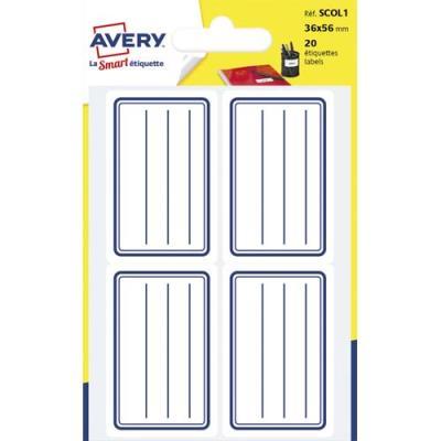 Etiquettes scolaires Avery - lignées bleu - 36 x 56 mm - sachet de 20