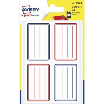 Etiquettes scolaires Avery - lignées bleu et rouge - 36 x 56 mm - sachet de 24
