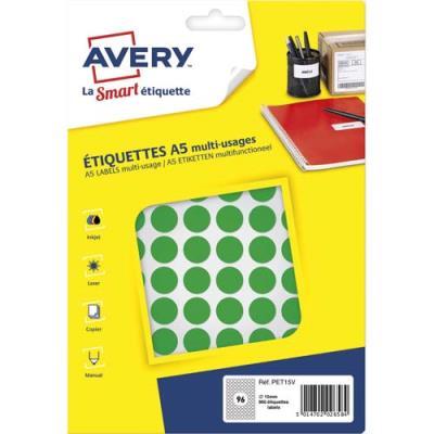 Pastilles adhésives Avery - diamètre 15 mm - imprimables - vert - sachet de 960
